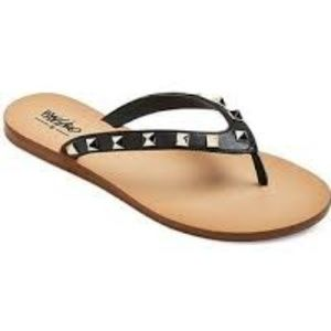 Mossimo Black Studded Thong Sandals
